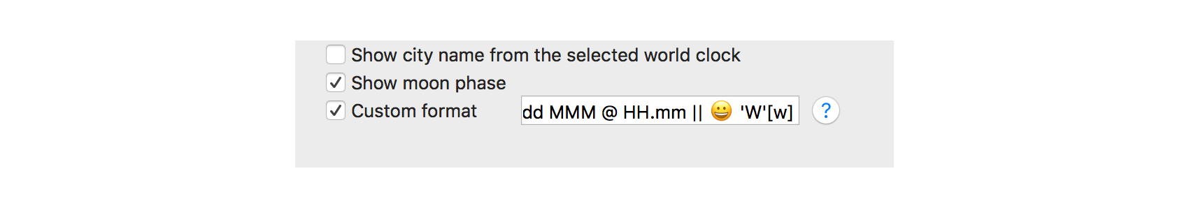 Custom format