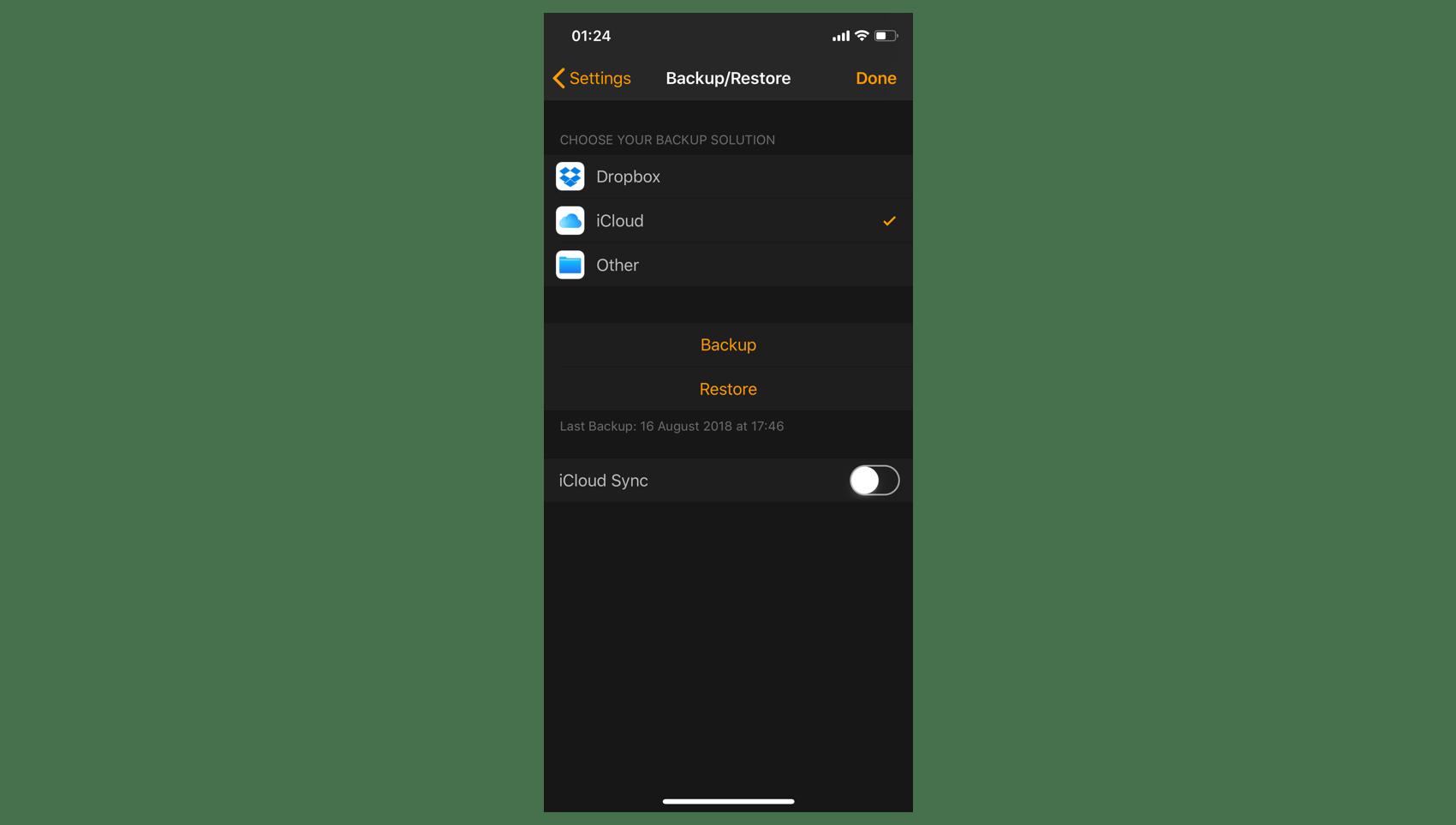 iOS Backup/Restore