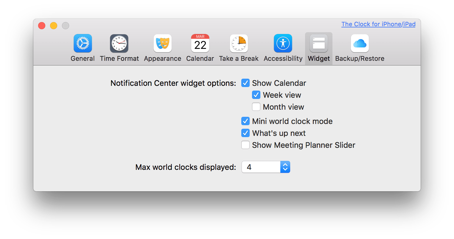 macOS The Clock Widget Preferences